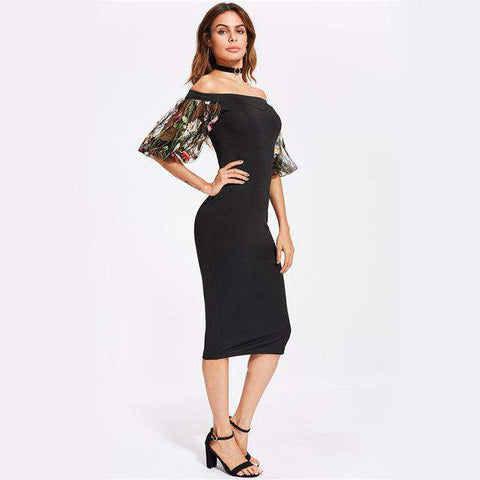 Black Off the Shoulder Floral Mesh Puff Sleeve Midi Dress