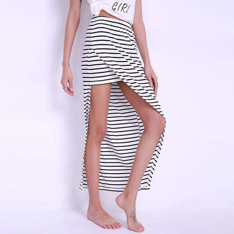 Asymmetric Side Split Pencil Elastic High Waist Striped Maxi Skirt