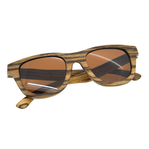 Zebra Wood Brown Frame Square Sunglasses Unisex
