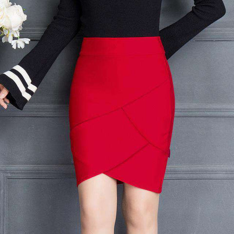 Asymmetrical Black Red High Waist Slim Package Hip Mini Skirt