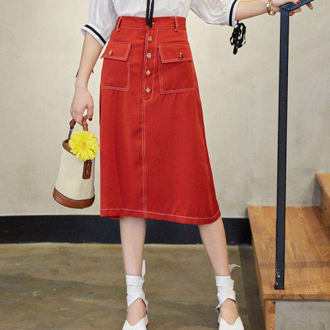 A Line Midi Slim Casual Pure Color Red Skirt