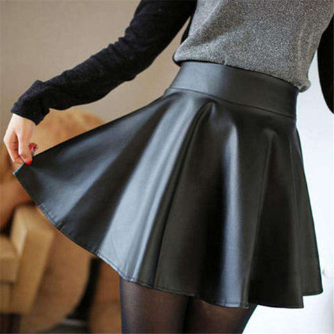 Faux Leather High Waist Skater Flared Pleated Mini Skirt Black