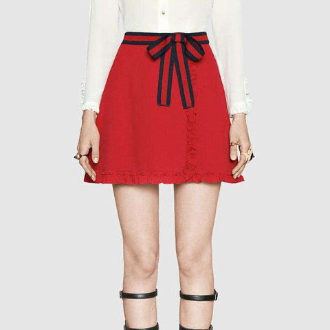 A-line Bow Black Red Patchwork Empire Slim Skirt Red