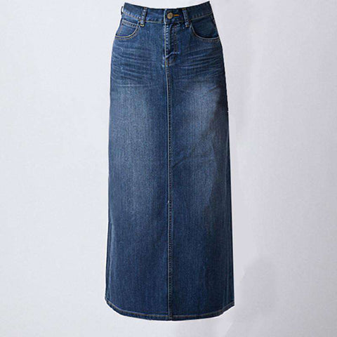 A-line Denim Half-Length Slim Hip Maxi Skirt Blue