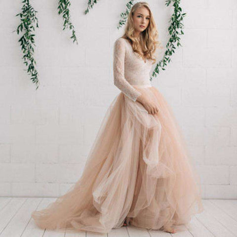 Champagne Nude Ivory Long Maxi Tulle Skirt
