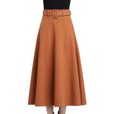 Belt High Waist Pleat Mid-Calf Skirt Rust