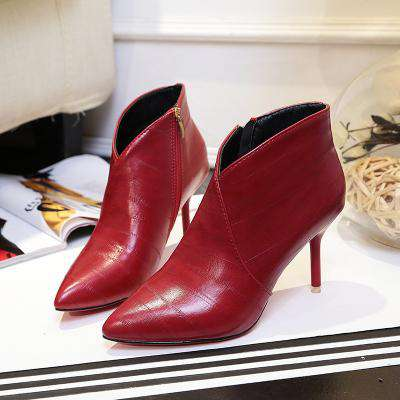 size 40 eb017 b1dc9 Pointed Toe Red Bottom Thin High Heel Ankle Boots