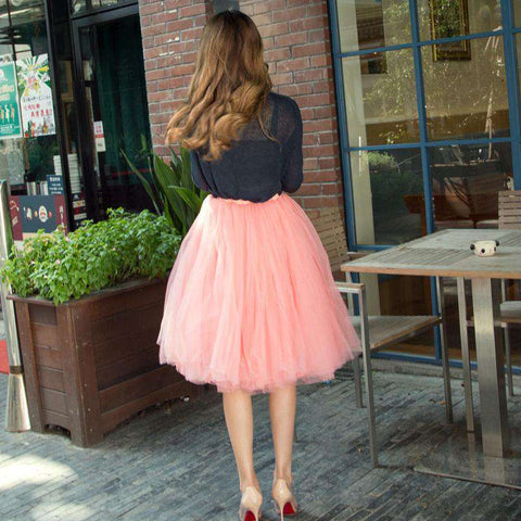 7 Layer Tulle Elastic Belt Midi Skirt Pink