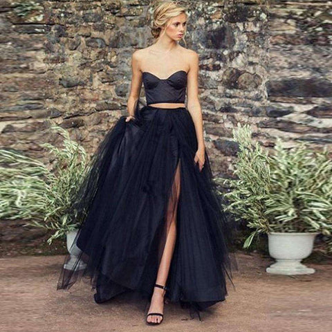 Women Magical Black Long Tulle Skirt Chic Side Split Puff Tulle Maxi Tutu Skirts