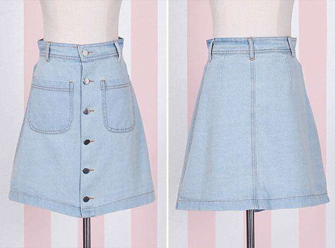 Blue Denim A-line Mini Skirt With Pockets Buttons Decoration