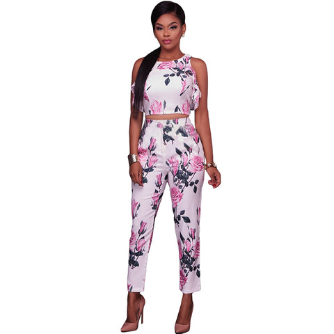 Two Pieces Ruffles Sleeveless Floral Printed Bodycon Rompers Jumpsuit