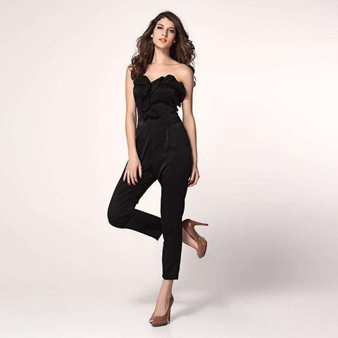 Belts Low-Cut Pants Piece Rompers Jumpsuit Black