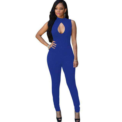 Club Party Bodysuit Sleeveless Bodycon Rompers Jumpsuit Blue