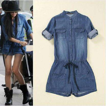 Loose Pants Washed Pockets Casual Vintage Short Rompers Jumpsuit Denim
