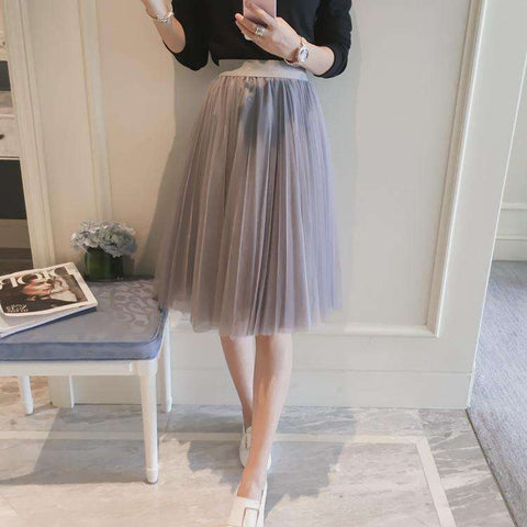 A Line Elastic High Waist Pleated Midi Skirt Grey