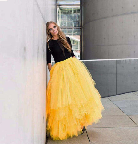 Yellow Maxi Tutu Tulle Tiered Layers Ball Gown Skirt