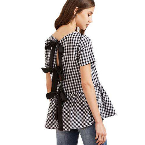 Black - White Checkered Bow Split Peplum Plaid Blouse