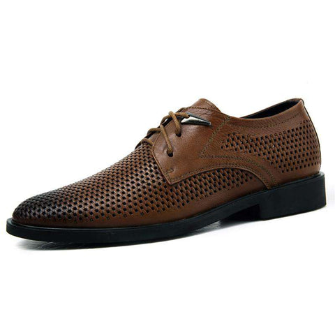 Men's Pointed Toe Lace Up Genuine Leather Formal Dress Shoes Brown