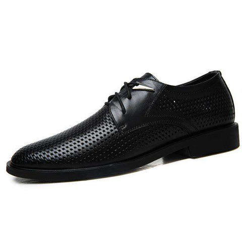 Men's Genuine Leather Lace Up Breathable Dress Shoes Brown