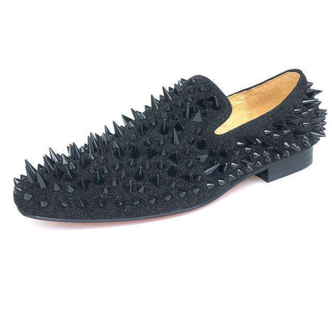 Men Leather Loafers With Black Spikes Flats