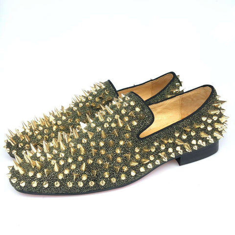 Men Leather Loafers With Gold Spikes Slip-On Shoes