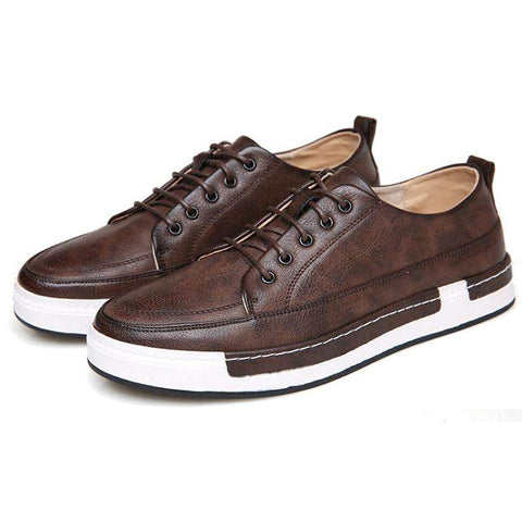 Men's Skateboarding Sport Genuine Leather Sneakers Brown