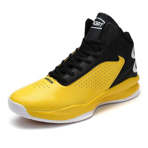 Men's Lace Up Casual Basketball Sneakers Yellow