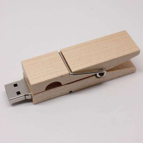 Wooden Clip USB Flash Drive 8GB 16GB 32GB 64GB Pen Drive Gift Disk On Key 2TB 32GB Pass H2testw Real Capacity