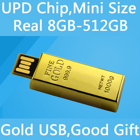 Waterproof UPD Chip Mini Usb Flash Drive 512GB 1TB 2TB Pen Drive 64GB 128GB Gold Bar USB 2.0 Flash Memory Card Stick Disk On Key