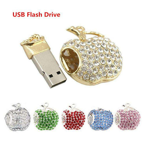 USB Flash Drive USB Flash Disk Gift Apple Diamond Crystal Pen Drive 4GB, 8GB, 16GB ,32GB ,64GB USB 2.0 Memory Stick