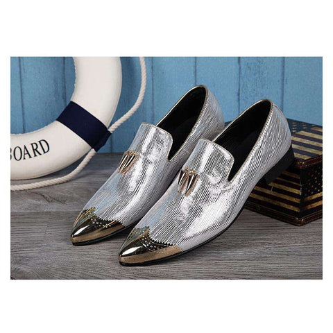 Men Pointed Toe Slip On Leather Casual Flats