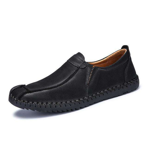 Genuine Cowhide Rubber Handmade Moccasins Slip on Men's Shoes