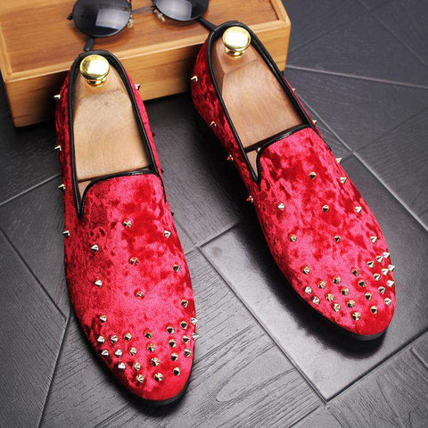 Velvet Red Casual Breathable Suede Handmade Loafers