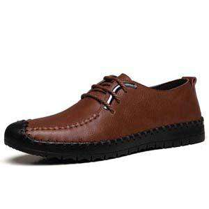 Men Casual Shoes Pu Leather Breathable Low Lace-up Flats Driver Shoes