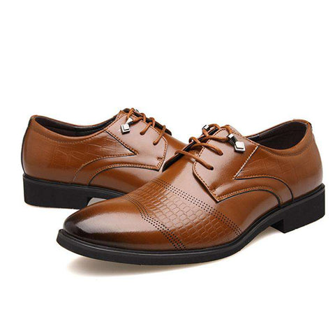 Men's Genuine Leather Lace Up Round Toe Formal Dress Shoes Brown