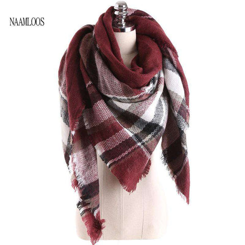Big Square Cashmere Winter Warm Soft Plaid Scarf