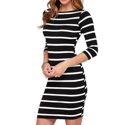Round Neck Black and White Striped Casual Dress