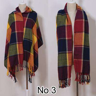 Long Tassel Plaid Cashmere Warm Pashmina Scarf
