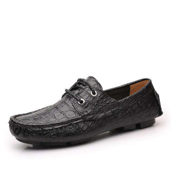 Breathable Crocodile Leather Casual Moccasin Lace-Up Loafers Men