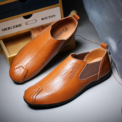 Men Slip on Breathable Genuine Leather Flats