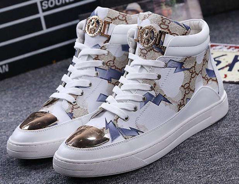 Men Two Layer Cow Leather High Top Metal Decoration Shoes