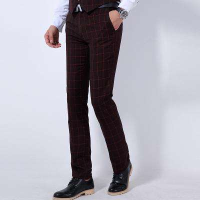 Men's Non Ironing Slim Fit Formal Dress Pants Wine Red
