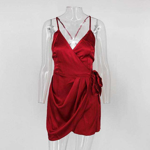Spaghetti Strap Deep V-Neck Party Night Red Mini Dress Women