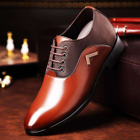 Men's Genuine Leather Lace Up Formal Brown Dress Shoes