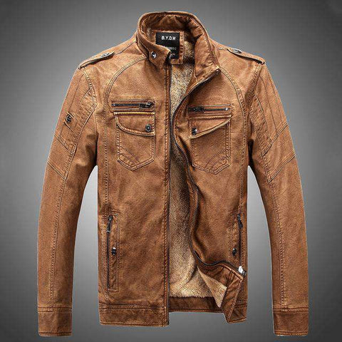 Men's Leather Motobiker Stand Collar Thick Wool Leather Winter Jacket