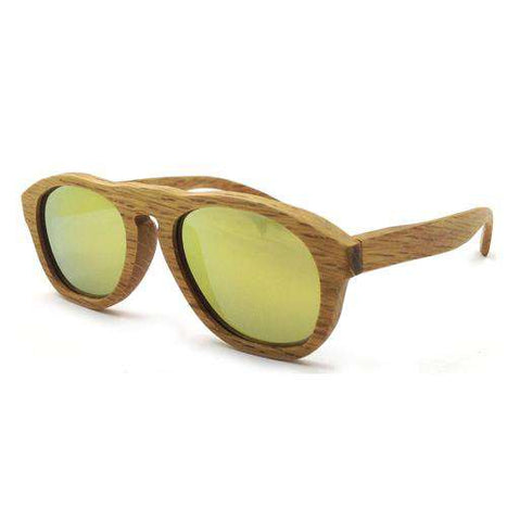 Pure Wood Sunglasses Yellow Mirrored Lenses Polarized UV400 Unisex