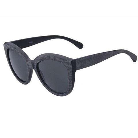 Cat Eye Wooden Frame Sunglasses For Women