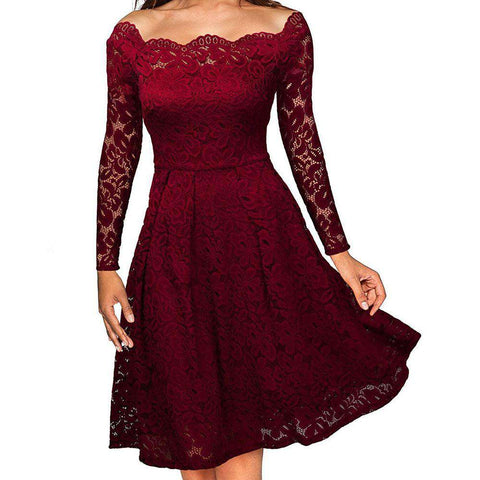 Floral Long Sleeve Lace Boat Neck Cocktail Formal Dress