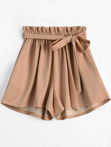 High Waist Smocked Belted Beach Elastic Shorts