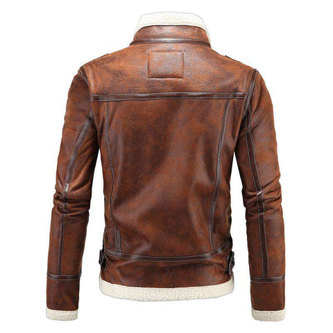 Winter Faux Wool Liner Zipper Leather Jacket